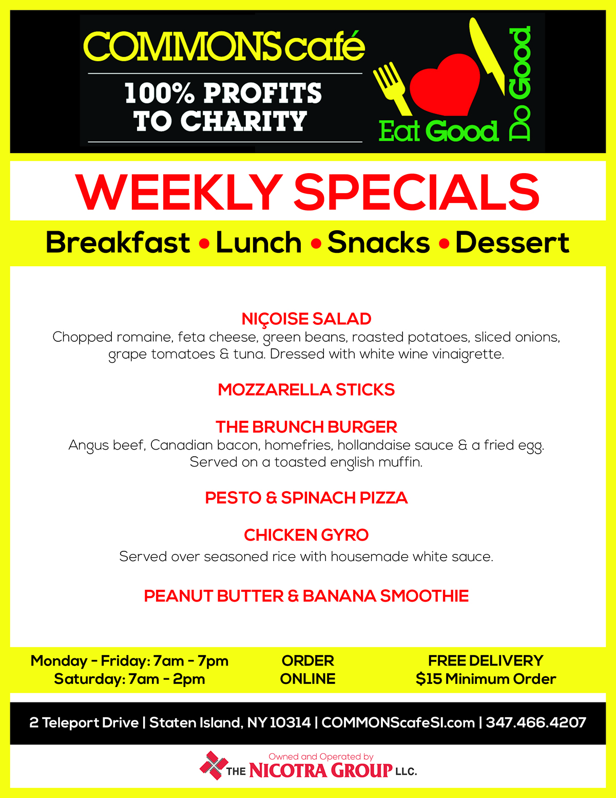 COMMONS CAFE WEEKLY SPECIALS APR 11- APR 17