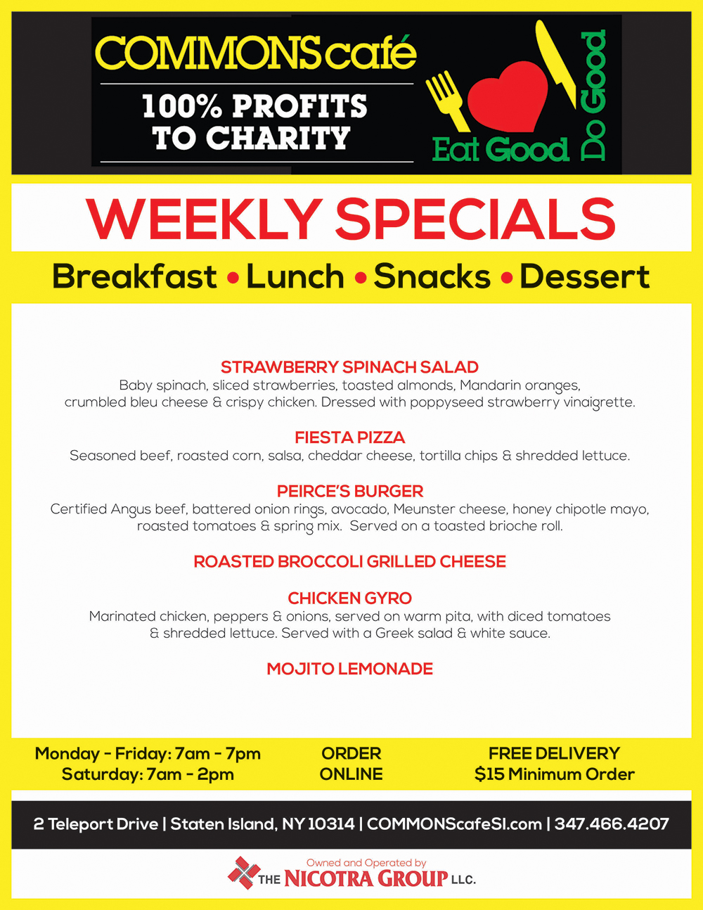 COMMONS CAFE WEEKLY SPECIALS JUNE 20 - JUN 26